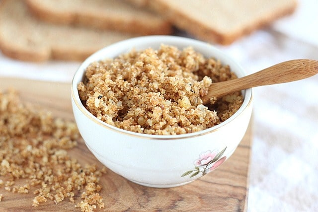 Homemade breadcrumbs with parmesan and olive oil