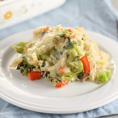 Leftover turkey casserole with brown rice and vegetables