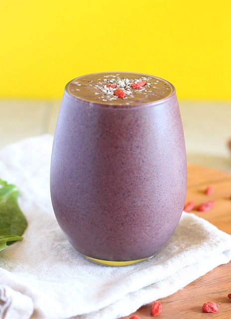 Vegan smoothie with blueberrie and cherries