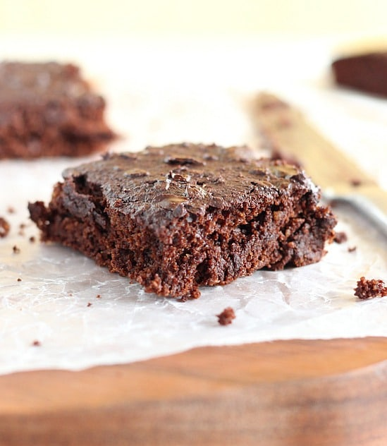 Healthy brownies made with oat flour and applesauce
