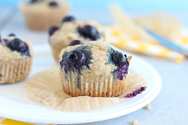 Buckwheat banana muffins with blueberries