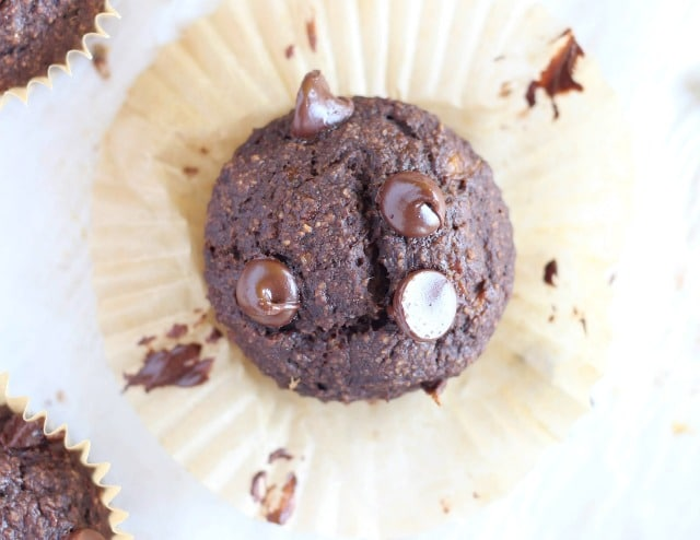 Healthy chocolate muffins sweetened with banana