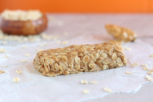Healthy peanut butter granola bar with honey