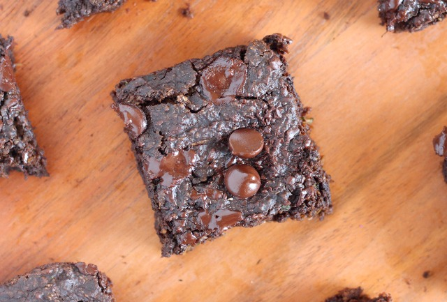 Low sugar zucchini brownies with oat flour