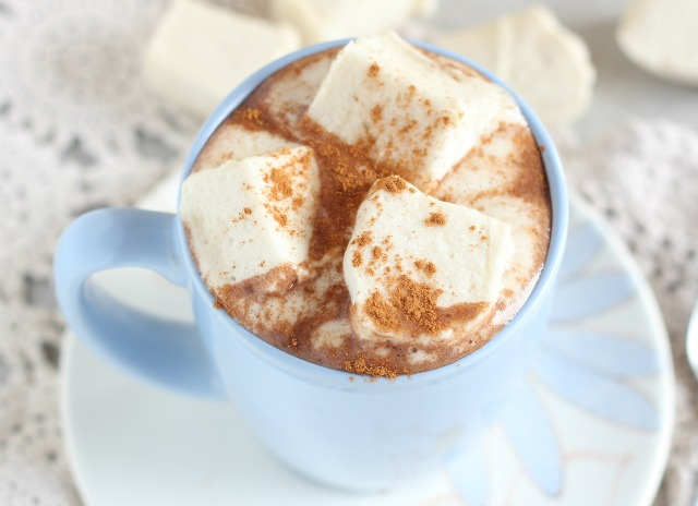 Caffeine-free hot chocolate made with carob powder