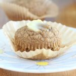Vegan peanut butter muffins sweetened with banana and apple