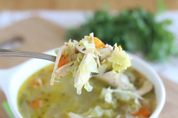 Healthy cabbage soup with chicken
