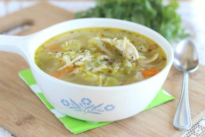 Chicken cabbage soup made without tomatoes