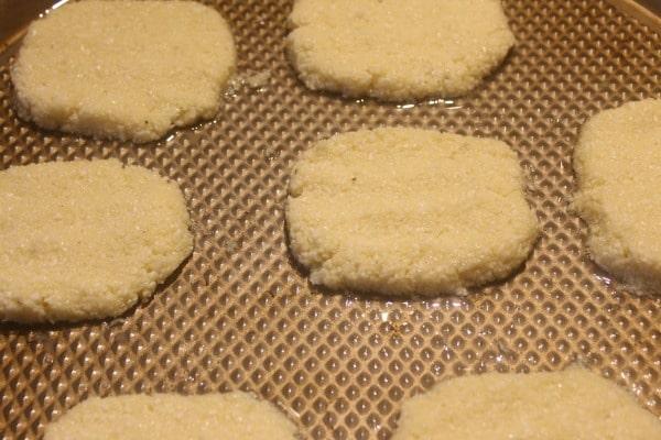 Cauliflower hashbrown patties before baking