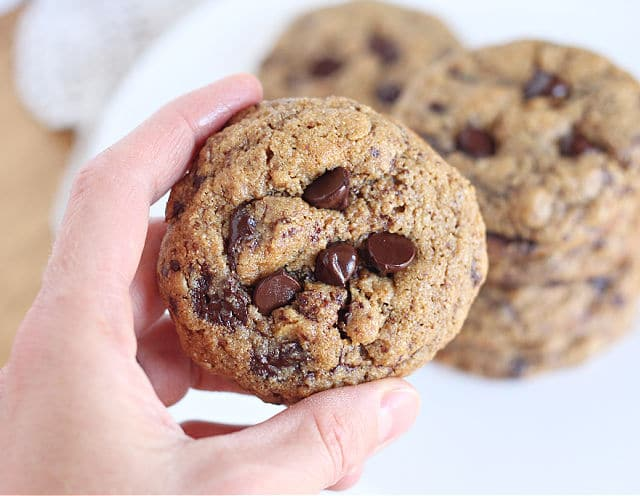 Healthy chocolate chip cookie with barley flour and oats