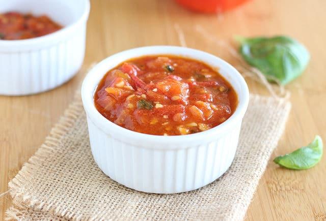 Fresh Roma tomato marinara sauce in a bowl
