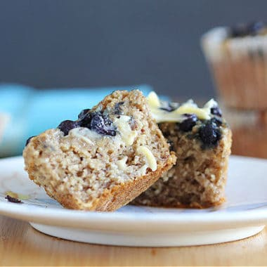 Date-sweetened blueberry muffin recipe with oats